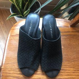Lucky brand suede block heel sandal